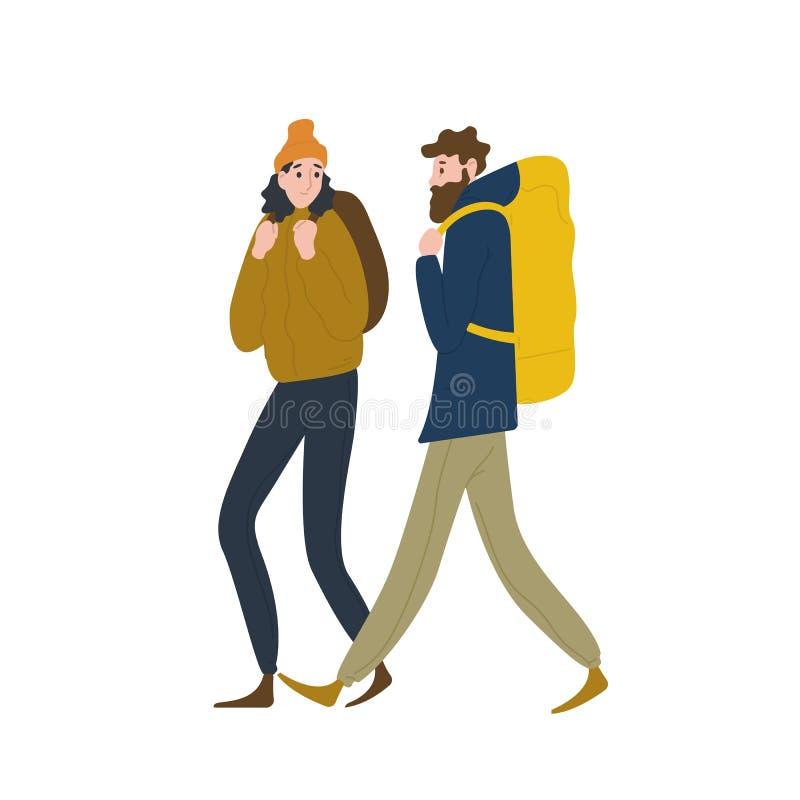 Paare der netten Wanderer, die zusammen gehen Freund und Freundin, die in der Natur wandern oder wandern Mann und Frau lizenzfreie abbildung