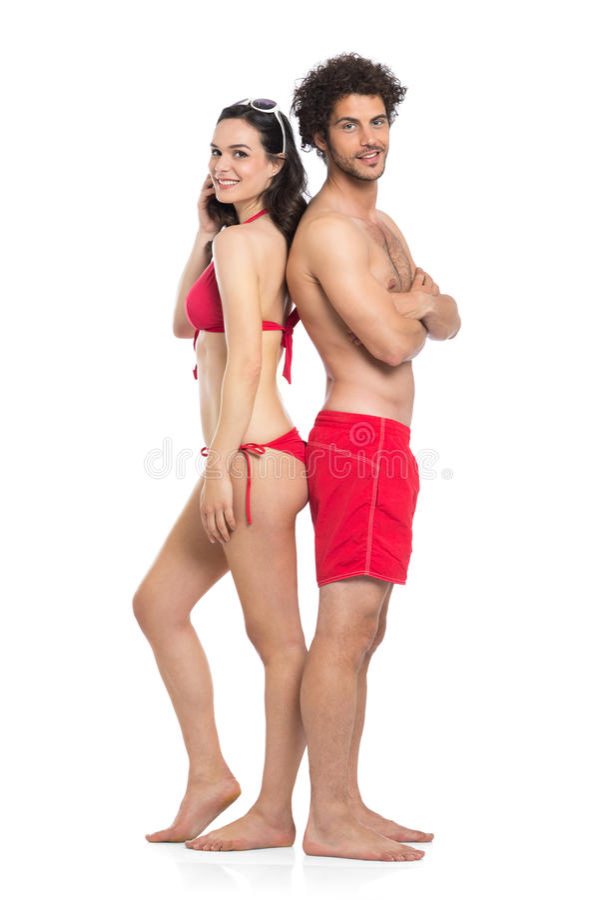 Paare in der roten Badebekleidung stockfoto