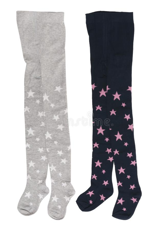 Paare der Strumpfhose grau und blau mit dem gleichen Muster für Mädchen lizenzfreie stockfotos