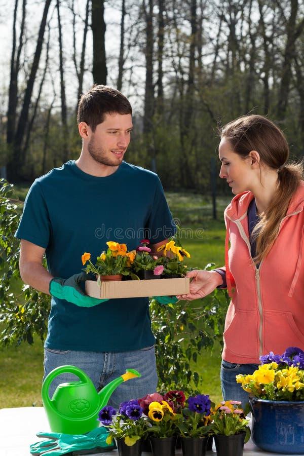Paare des Gartenkünstlers stockbild
