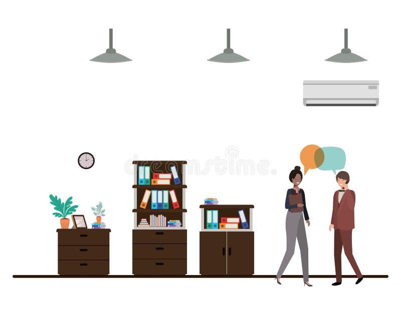 Paare des Geschäfts mit Spracheblasenavataracharakter stock abbildung