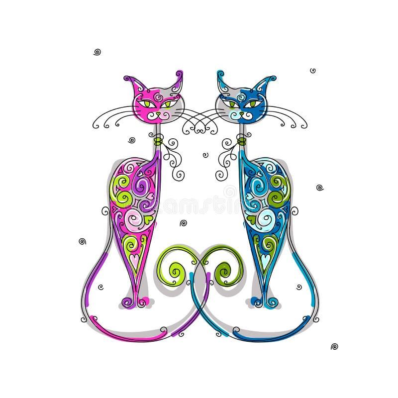 Paare des Katzenschattenbildes für Ihre Auslegung stock abbildung