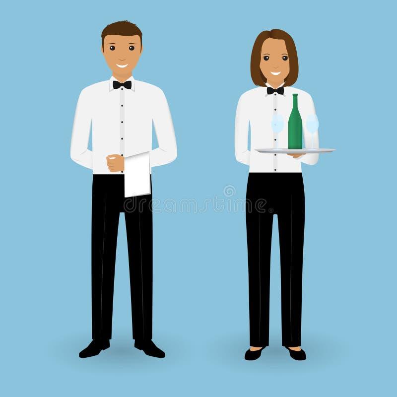 Paare des männlichen Kellners und der weiblichen Kellnerin mit Tellern und in der Uniform Restaurantteamkonzept Lebensmittelservi stock abbildung