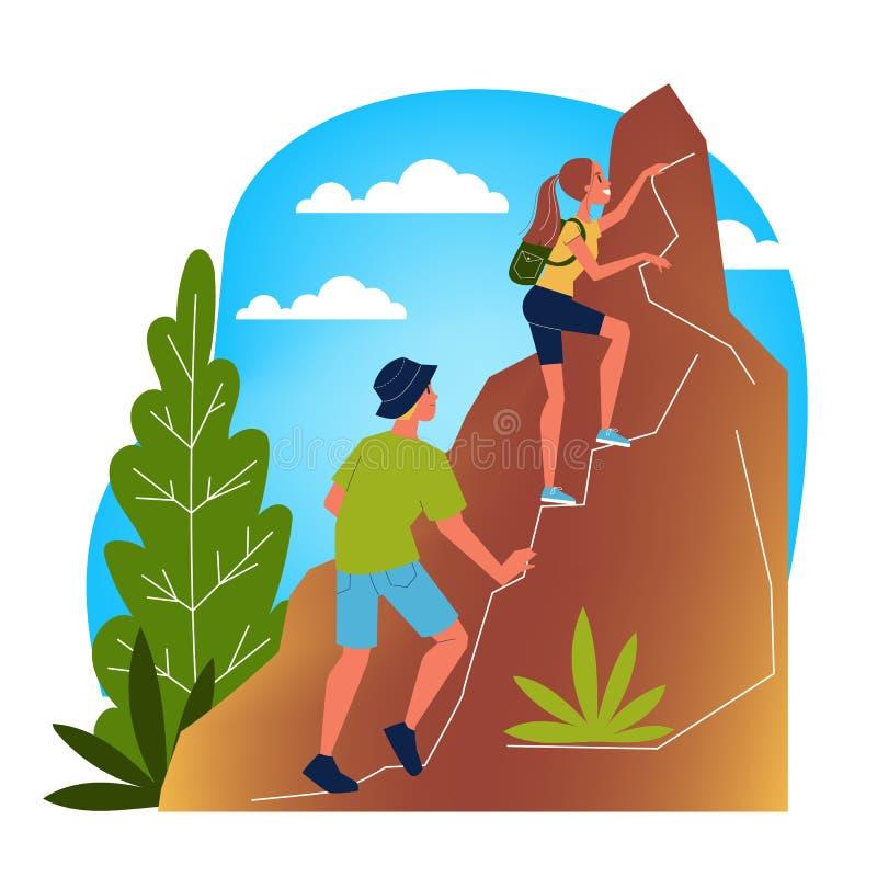 Paare des Touristen mit dem Rucksack, der den Berg klettert vektor abbildung
