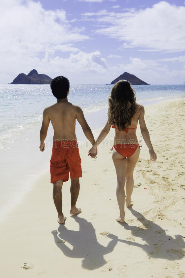 Download Paare, Die Auf Einen Hawaii-Strand Gehen Stockfoto - Bild von strand, himmel: 26351004