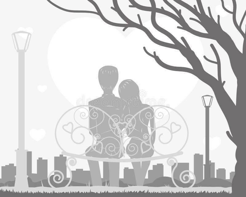 Download Paare, Die Auf Einer Bank Sitzen Vektor Abbildung - Illustration von datierung, paare: 90234354