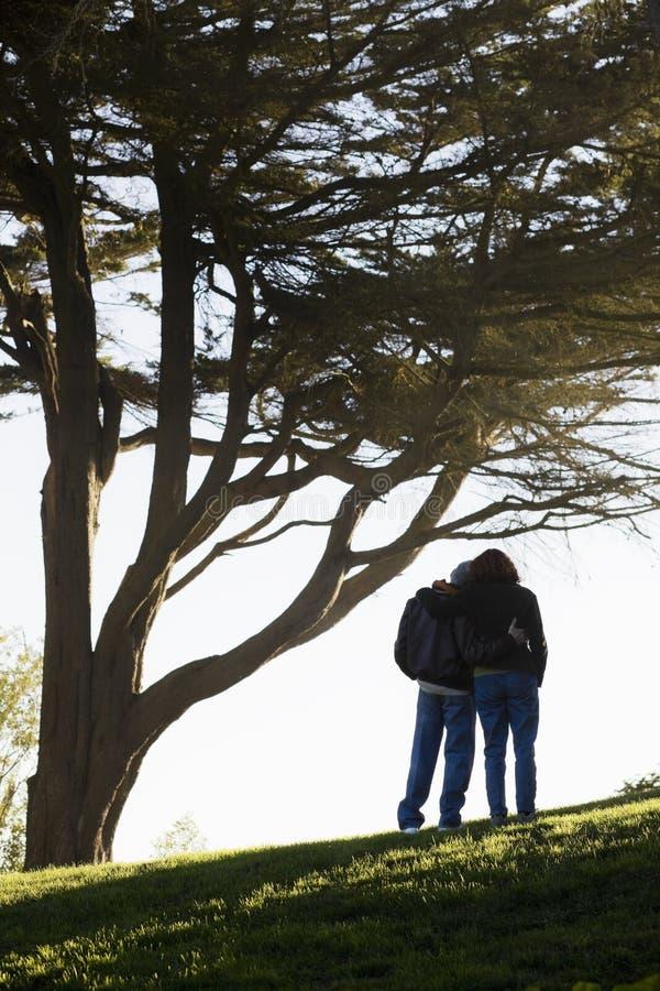Paare, die auf Hügel umfassen lizenzfreies stockbild