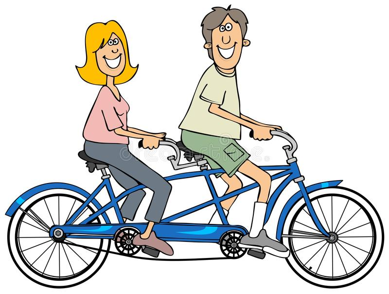 Paare, die blaues Tandemfahrrad fahren lizenzfreie abbildung