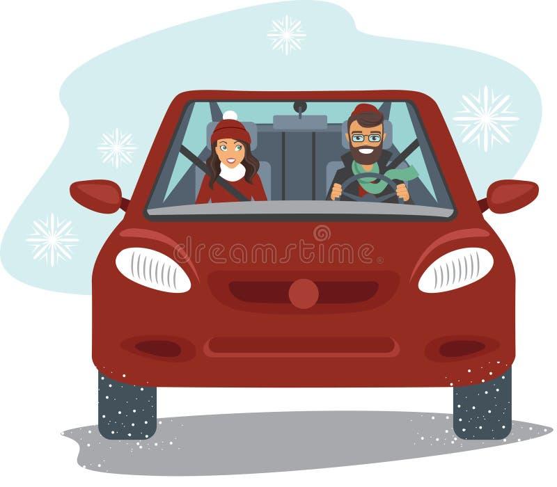 Paare, die in das rote Auto reiten lizenzfreie abbildung