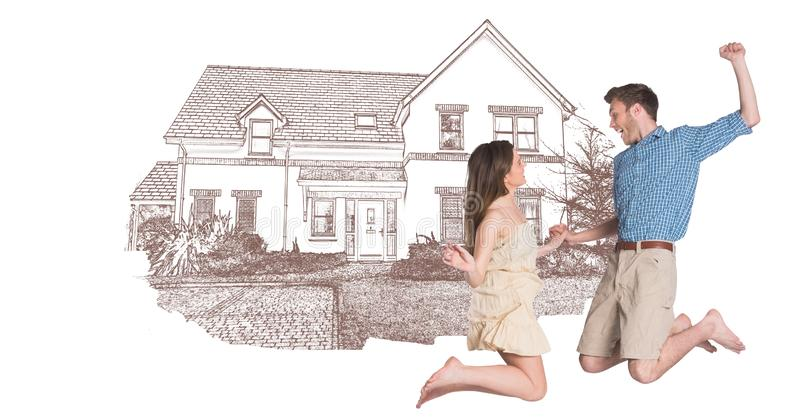 Paare, die das Springen vor Hauszeichnungsskizze feiern lizenzfreie stockfotos