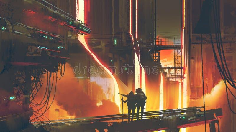 Paare, die in der futuristischen Gießerei stehen stock abbildung
