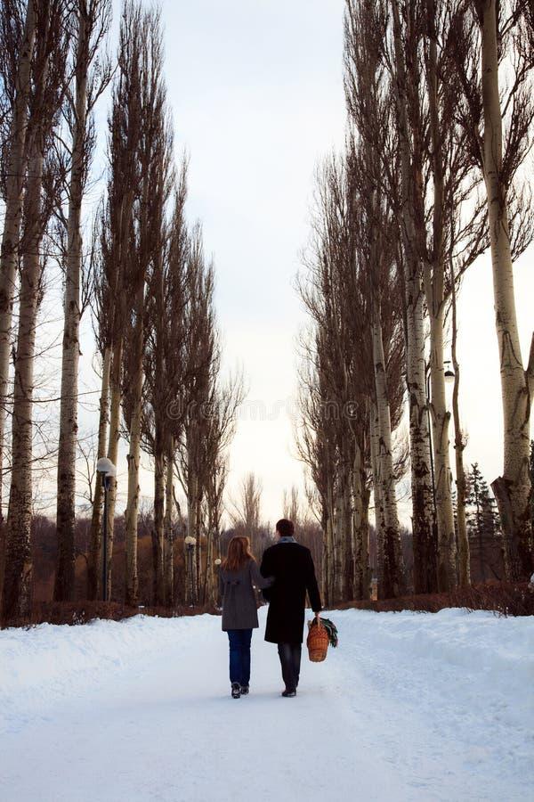 Paare, die durch die Pappelgasse gehen