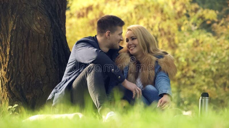 Paare, die einander mit Liebe und Weichheit, Picknick im Herbstpark betrachten stockfotografie