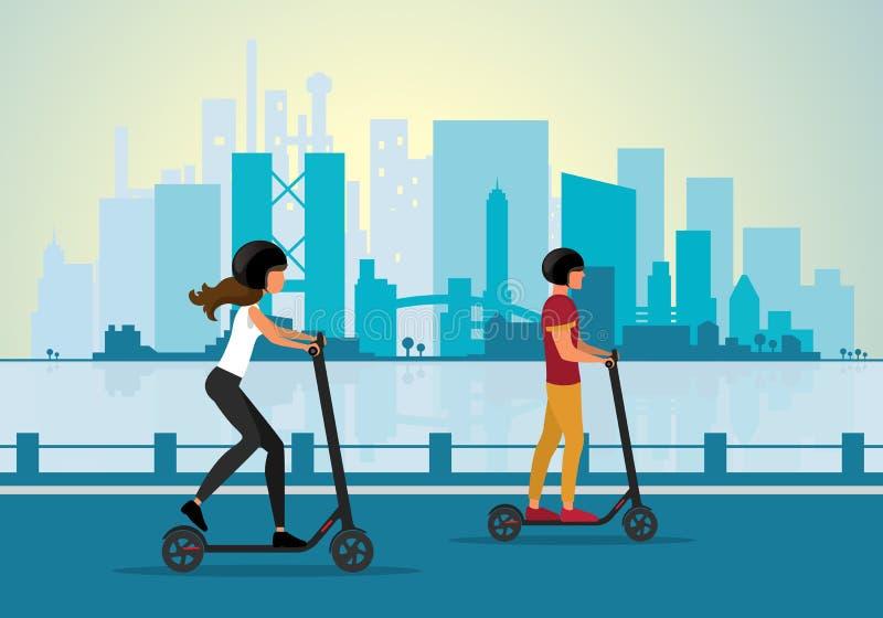 Paare, die elektrischen Roller in einem Stadtbildhintergrund reiten lizenzfreie stockbilder