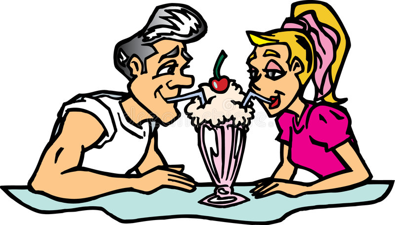 Paare, die Erschütterung teilen lizenzfreie abbildung