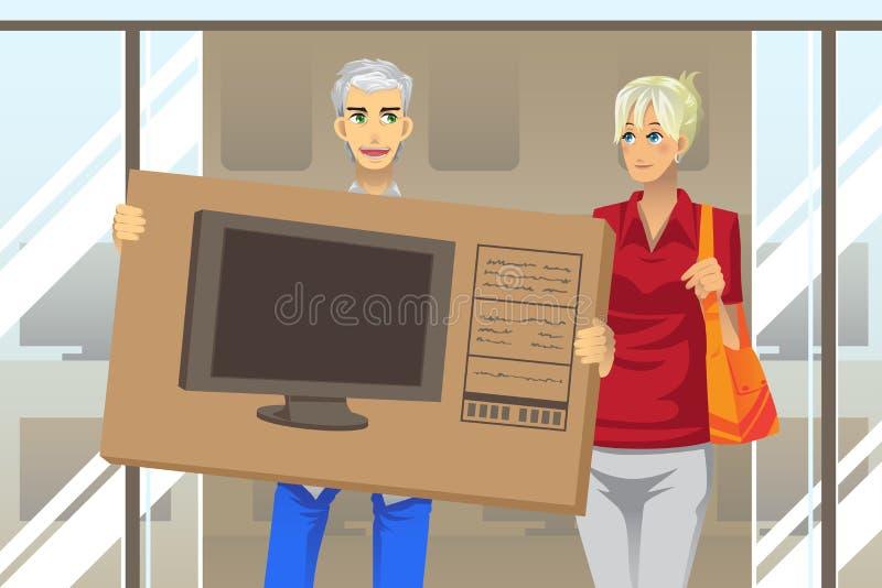 Paare, die Fernsehapparat kaufen stock abbildung