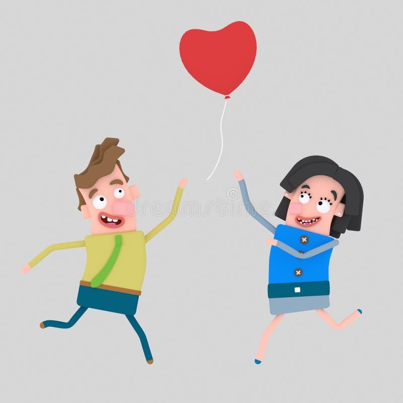 Paare, die Herzballonliebe jagen 3d vektor abbildung