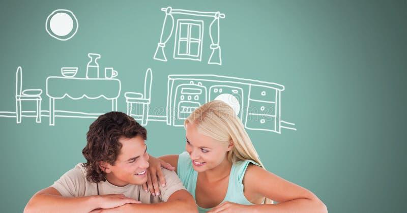 Paare, die mit Küchenzeichnungen lachen stock abbildung