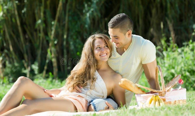Paare, die Picknick haben lizenzfreie stockfotografie
