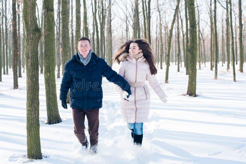 Paare, die Spaß im schneebedeckten Park haben lizenzfreie stockfotos
