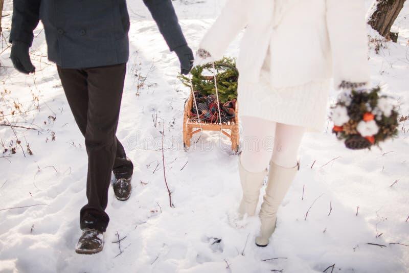 Paare, die zusammen draußen mit Pferdeschlitten gehen lizenzfreies stockfoto