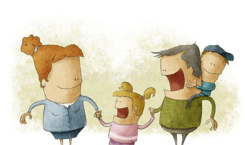 Paare, die zwei Kleinkindern das Lächeln geben lizenzfreie abbildung