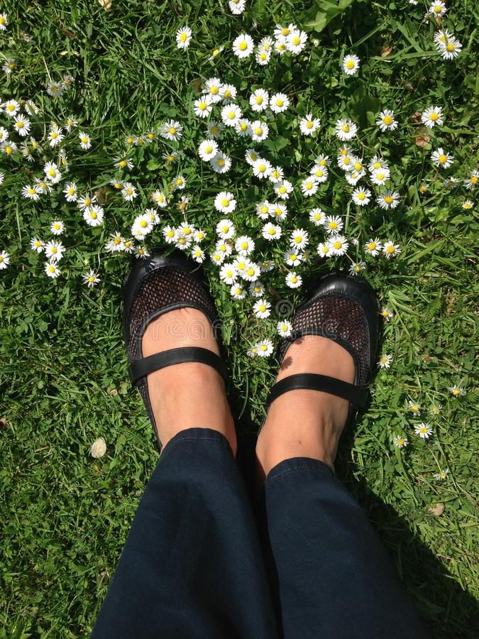 Paare Füße der Frau in den schwarzen Lederschuhen auf Gras stockfoto