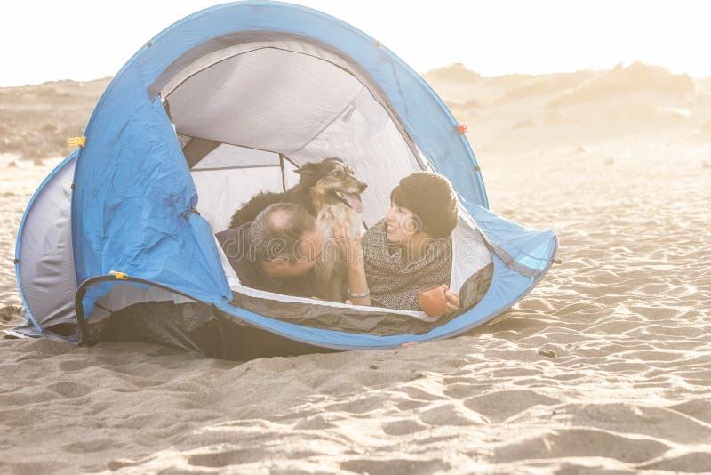 Paare freien kampierenden Freizeitbetätigung in der im Freien haben Spaß innerhalb des kleinen Hauses am Strand Hund border colli lizenzfreies stockbild