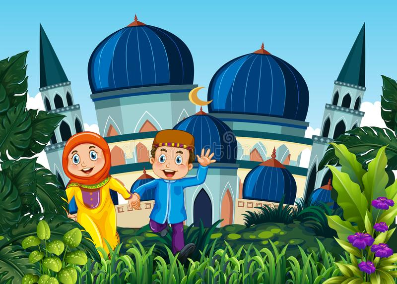 Paare gehen zur Moschee stock abbildung