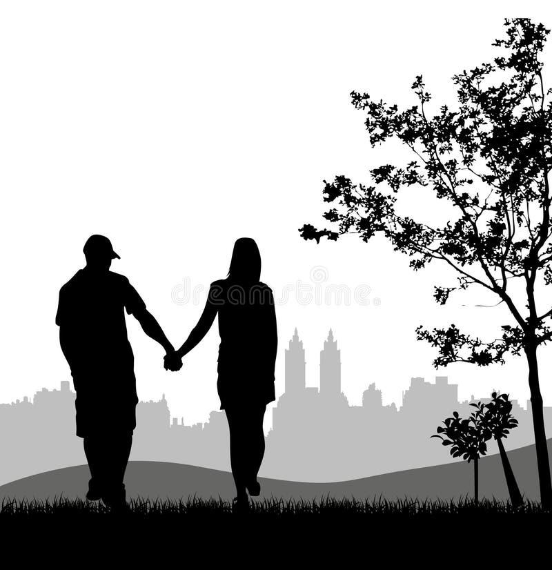 Paare an im Freien stock abbildung