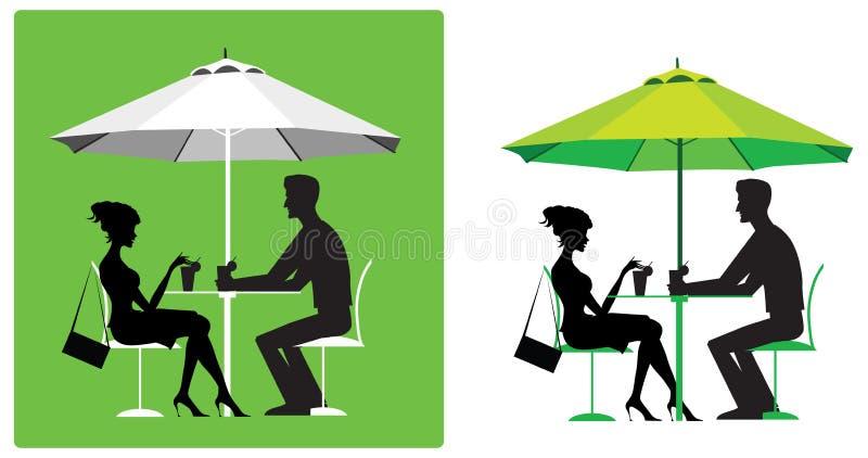 Paare am im Freienkaffee lizenzfreie abbildung