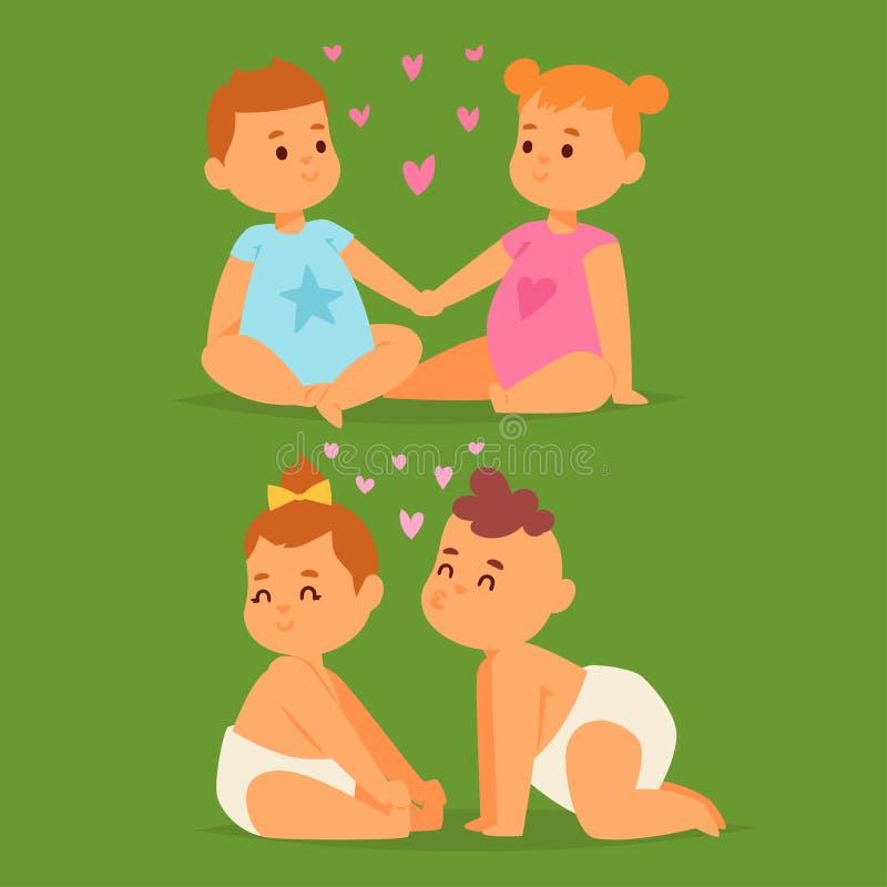 Paare im glücklichen lächelnden romantischen Erwachsenen Amorousness Frau der Leute der Liebesvektorcharakterzusammengehörigkeit  stock abbildung