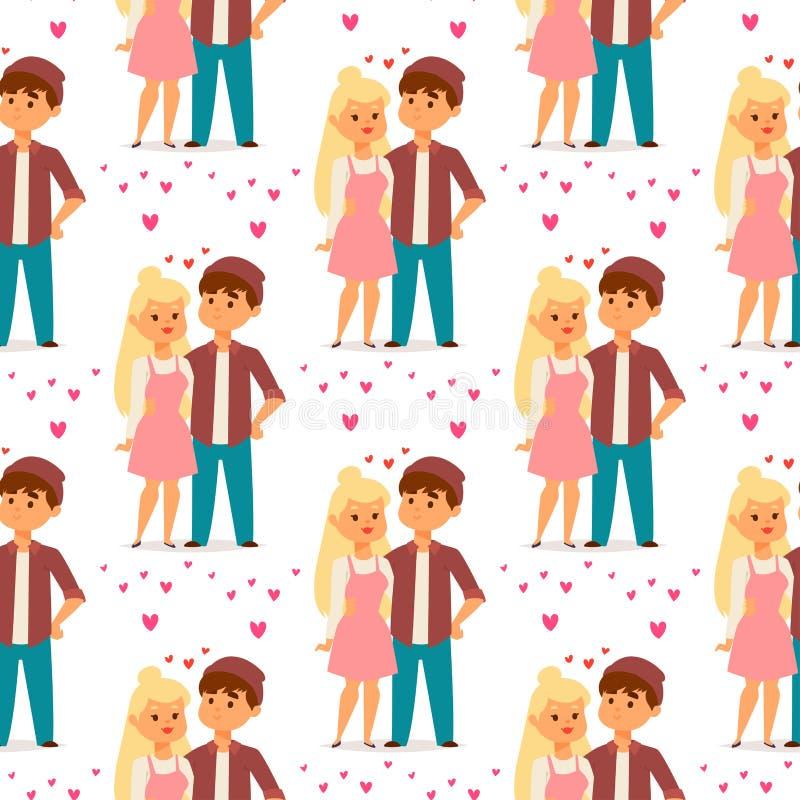 Paare im glücklichen lächelnden romantischen Erwachsenen Amorousness Frau der Leute der Liebesvektorcharakterzusammengehörigkeit  lizenzfreie abbildung