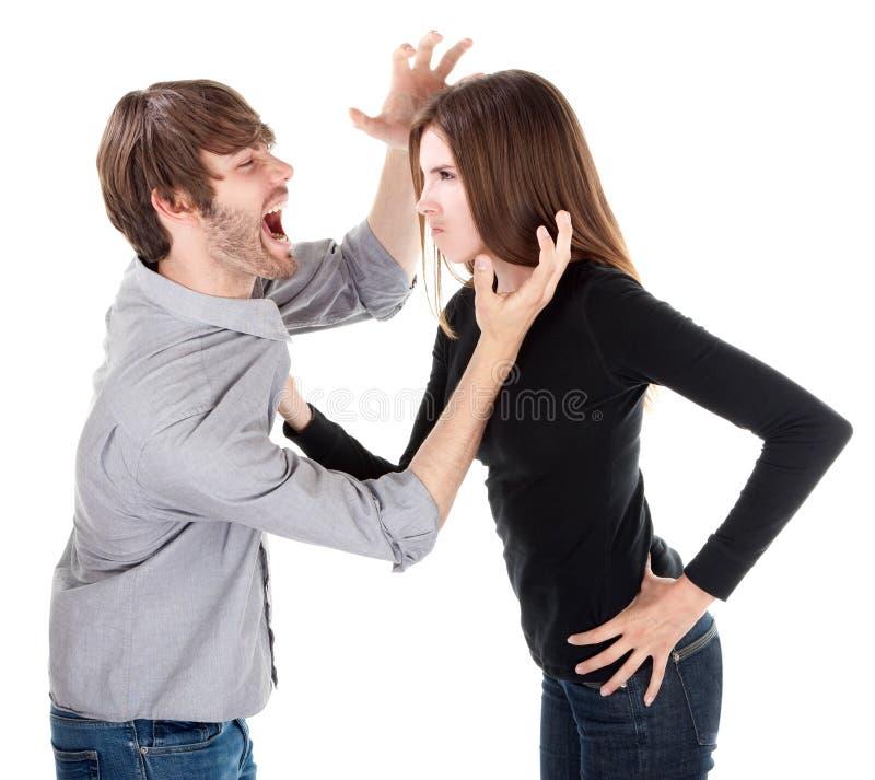 Paare im körperlichen Argument lizenzfreies stockfoto