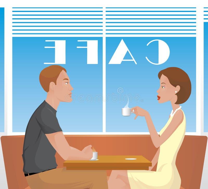 Paare im Kaffee lizenzfreie abbildung