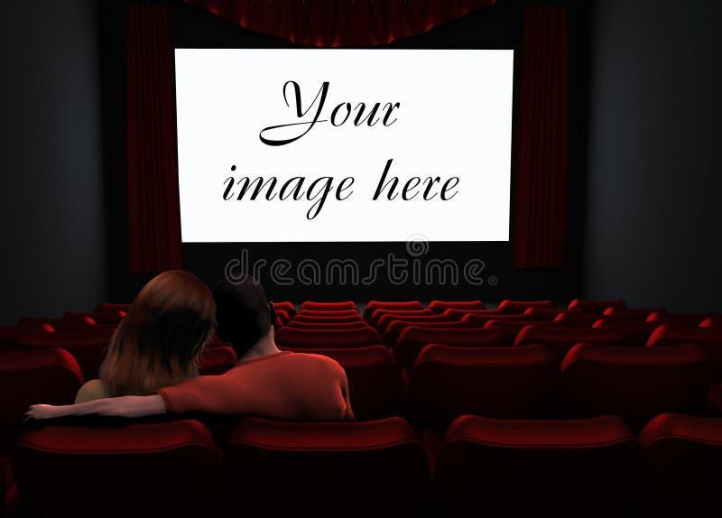 Paare im Kino lizenzfreie abbildung