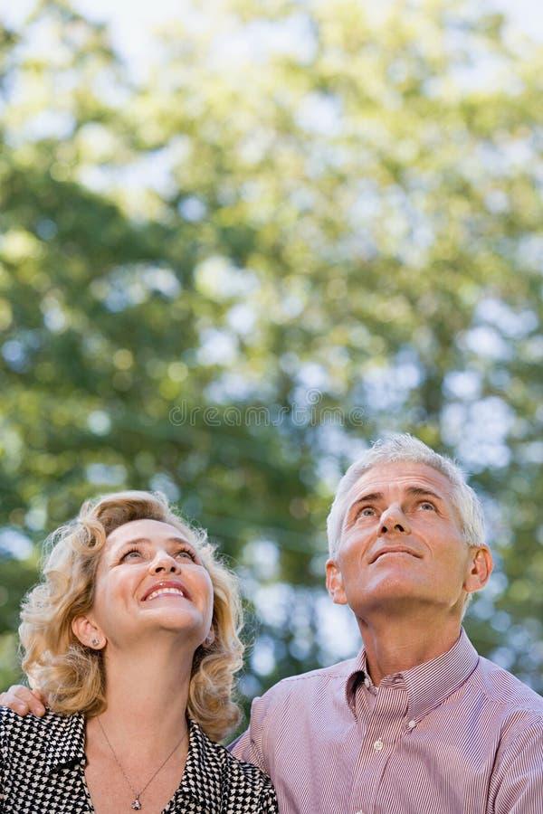 Paare im Wald, der oben schaut lizenzfreie stockfotografie