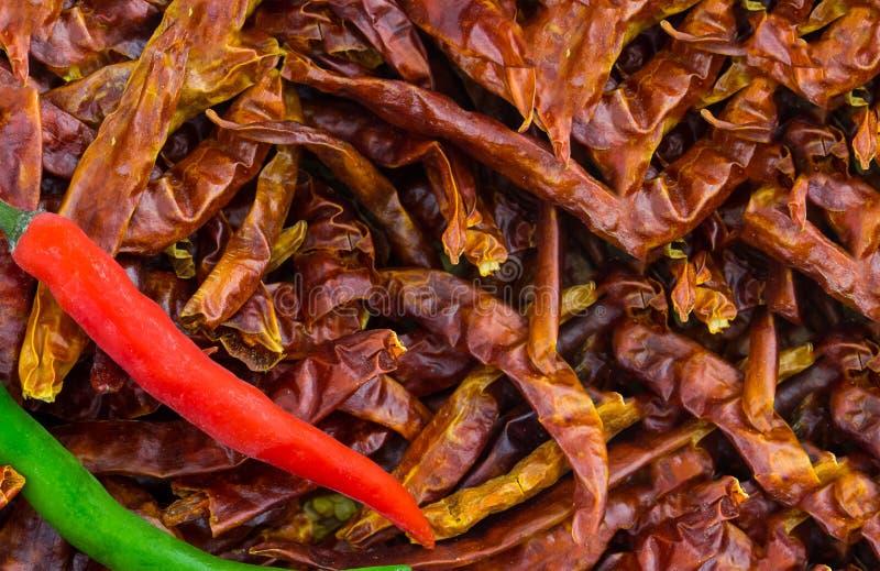 Paare Kopien-Raumdekoration des frischen Paprikas der roten grünen entwerfen würziges würziges der kulinarischen niedrigen Soße a stockfoto