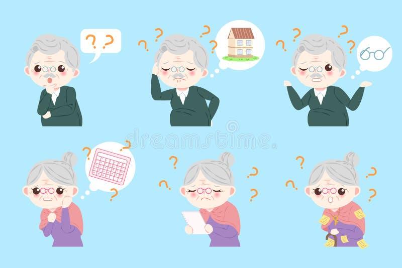 Paare mit Alzheimer Krankheit lizenzfreie abbildung