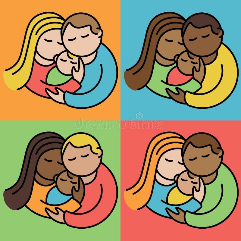 Paare mit Babys stock abbildung