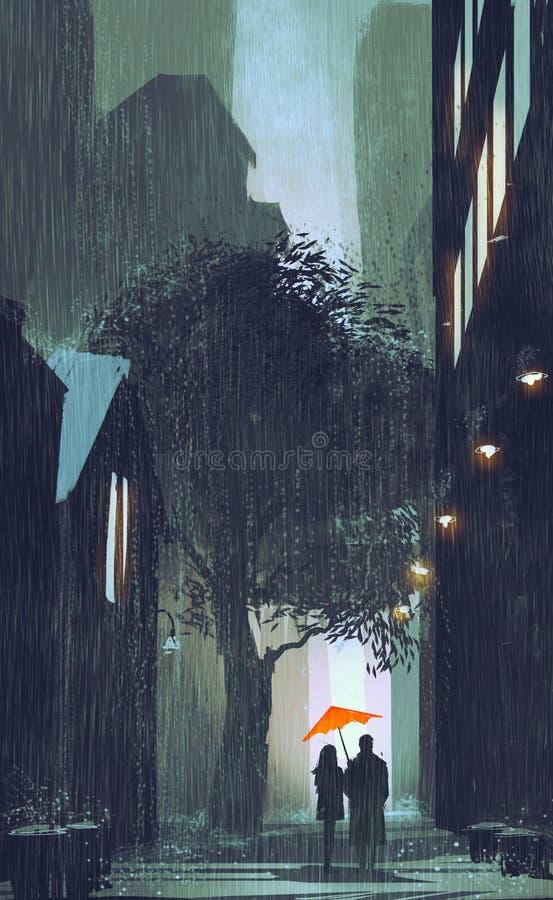 Paare mit dem roten Regenschirm, der wenn Straße nachts geht, geregnet wird lizenzfreie abbildung
