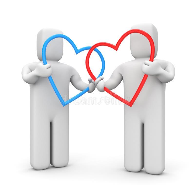 Paare mit Herzen stock abbildung