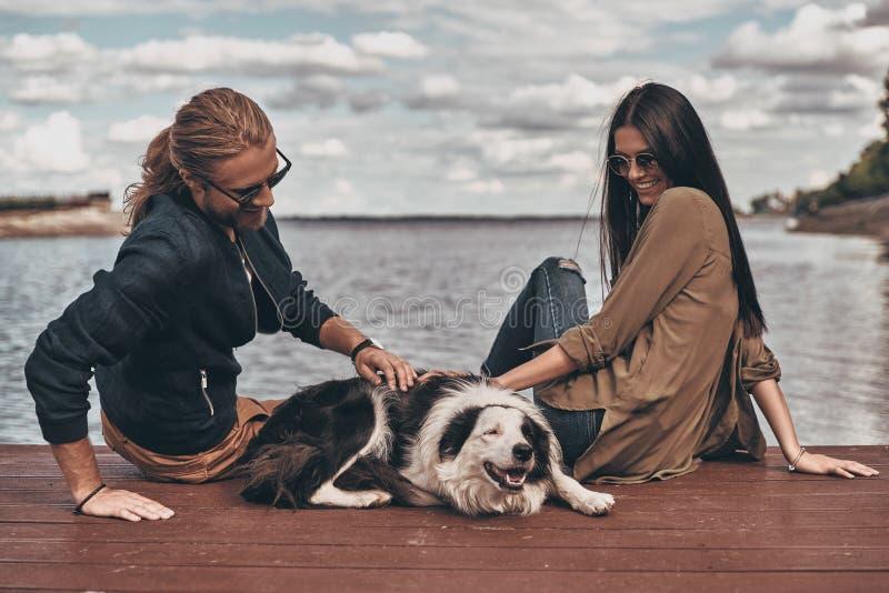 Download Paare mit Hund stockbild. Bild von liebe, freundin, menschlich - 96929801