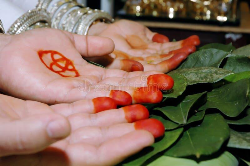 Paare Palmen In Einer Traditionellen Hochzeitszeremonie Lizenzfreie Stockfotografie