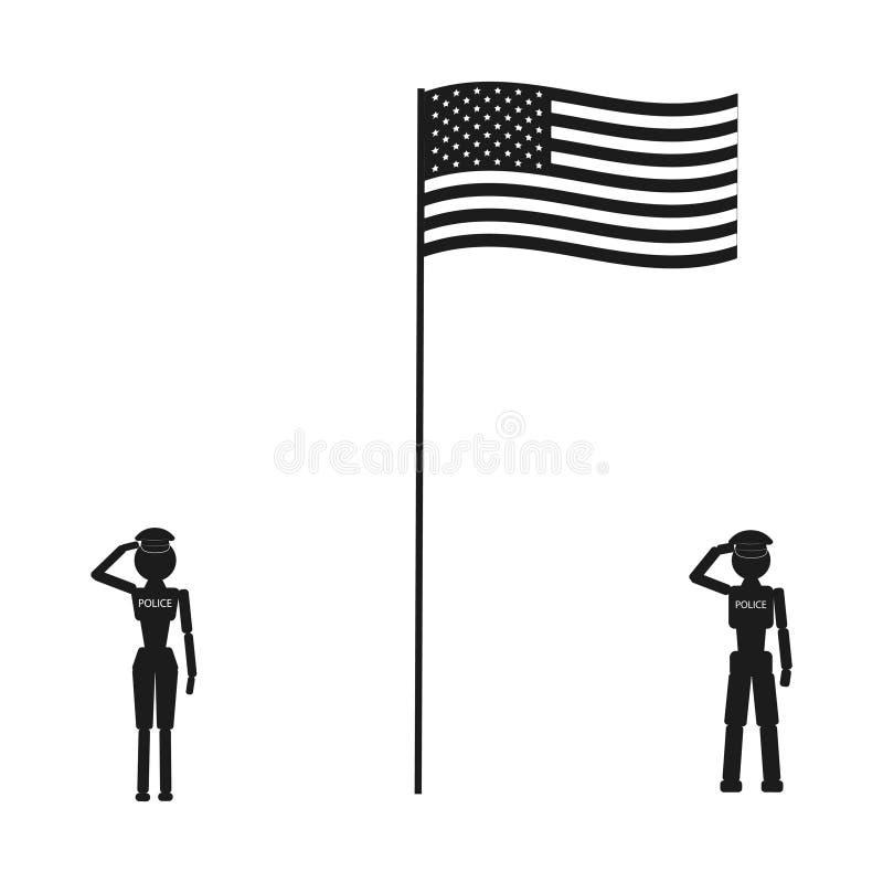 Paare Polizeiroboter mit Flagge von Vereinigten Staaten vektor abbildung