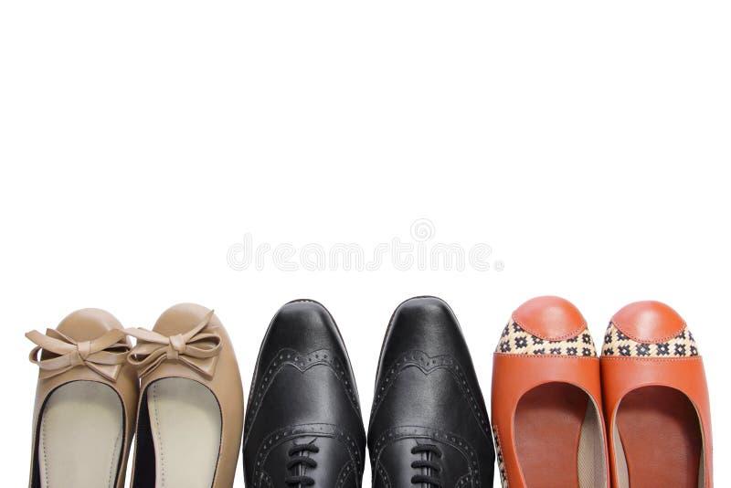 3 Paare Schuhe stockbild