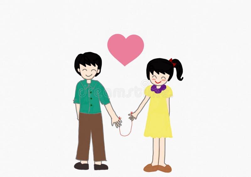 Paare sind Händchenhalten stock abbildung