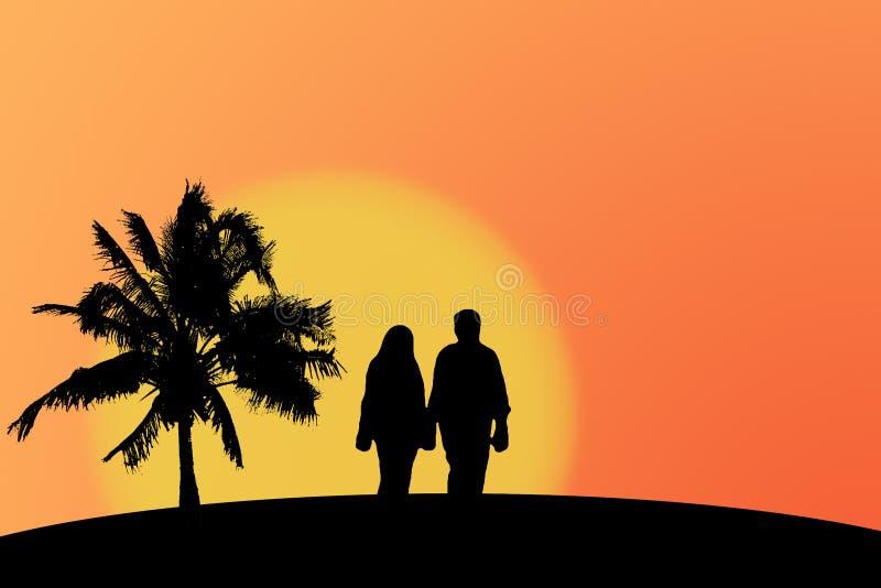 Paare und Sonnenuntergang vektor abbildung