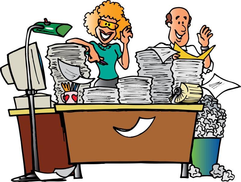 Paare und unordentlicher Schreibtisch lizenzfreie abbildung
