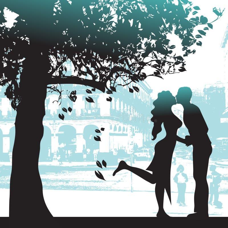 Paare unter dem Baum in der Stadt   lizenzfreie abbildung